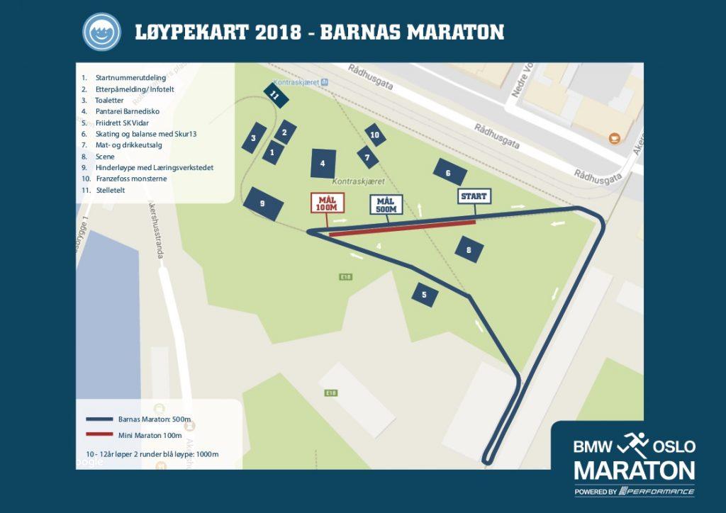 Трасса детских забегов в рамках Ословского марафона (BMW Oslo Maraton) 2018