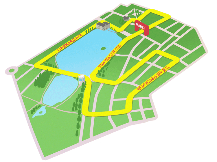 Трасса забега на 3 км в рамках Рейкьявикского марафона (Reykjavíkurmaraþon Íslandsbanka) 2019