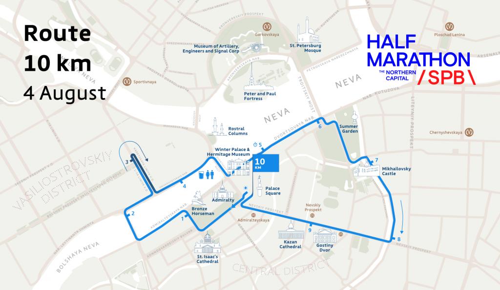 Трасса забега на 10 км в рамках Санкт-Петербургского полумарафона (СПБ полумарафон «Северная столица») 2019