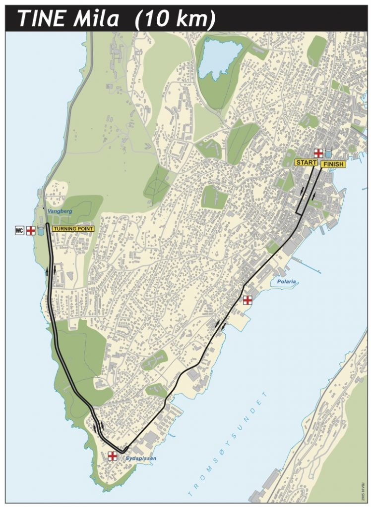Course of the 10km Race, Tromsø Midnight Sun Marathon 2021