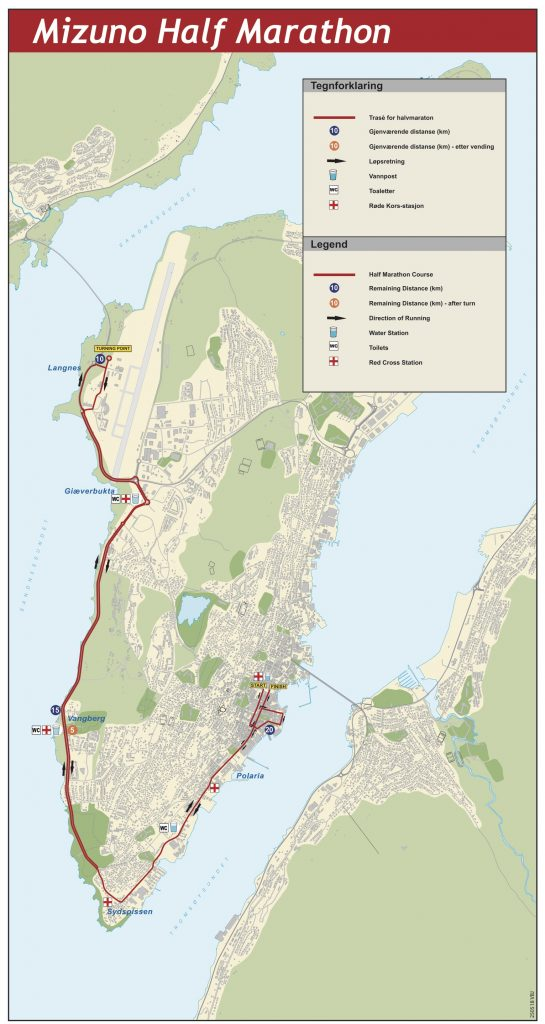 Course of the Tromsø Half Marathon (Mizuno Halvmaraton) 2021