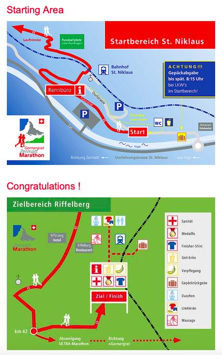 План зоны старта Церматтского марафона (Gornergrat Zermatt Marathon) 2019