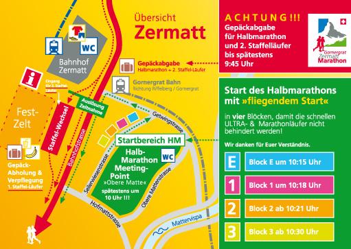 План зоны старта Церматтского полумарафона (Gornergrat Zermatt Halbmarathon) 2019