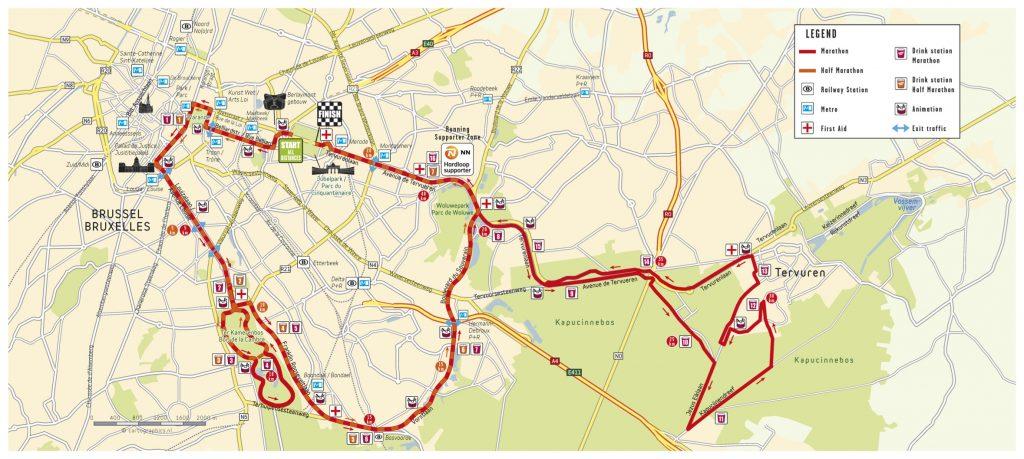 Трасса Брюссельского марафона и полумарафона (Brussels Airport Marathon & Half Marathon) 2018