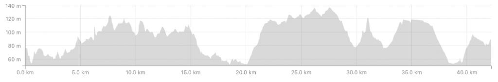 Профиль высот трассы Брюссельского марафона (Brussels Airport Marathon) 2018