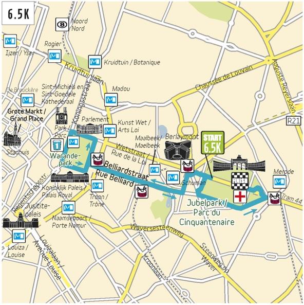 Трасса забега на 5 км в рамках Брюссельского марафона (Brussels Airport Marathon & Half Marathon) 2018