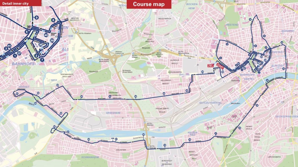 Трасса Франкфуртского марафона (Mainova Frankfurt Marathon) 2019