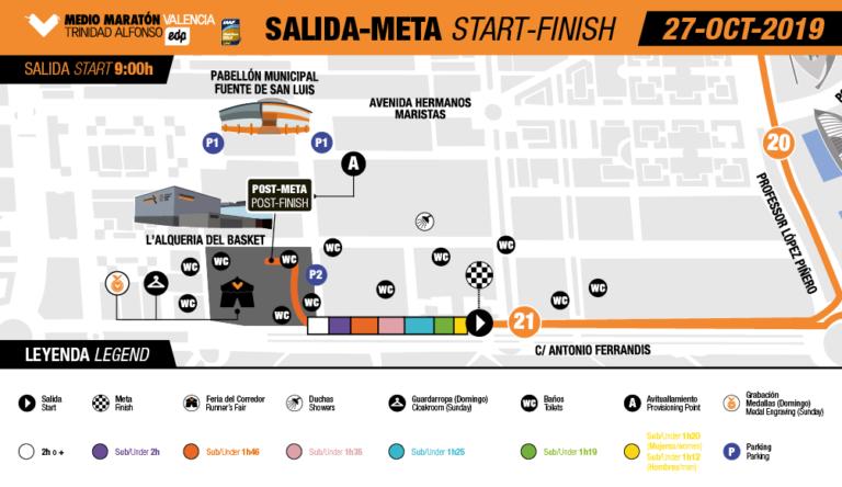 План зоны старта и финиша Валенсийского полумарафона (Medio Maratón Valencia Trinidad Alfonso EDP) 2019