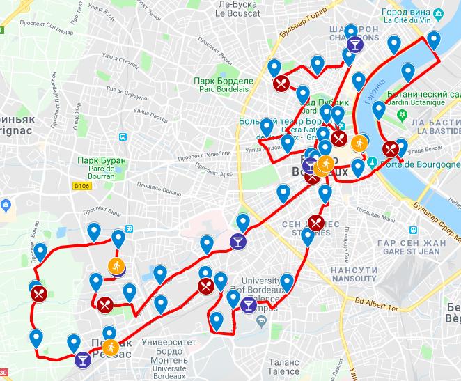 Трасса Бордоского марафона (Ociane Matmut Marathon de Bordeaux Métropole) 2019