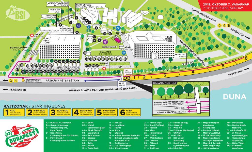 План зоны старта и финиша Будапештского марафона (SPAR Budapest Marathon) 2018