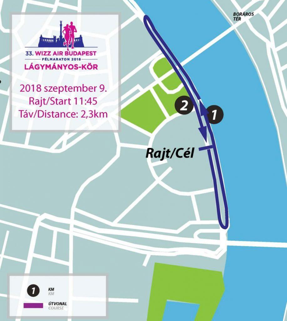 Трасса забега на 2,3 км в рамках Будапештского полумарафона (Wizz Air Budapest Half Marathon) 2018