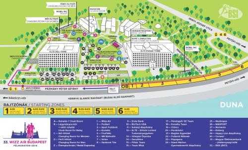 План зоны старта и финиша Будапештского полумарафона (Wizz Air Budapest Half Marathon) 2018