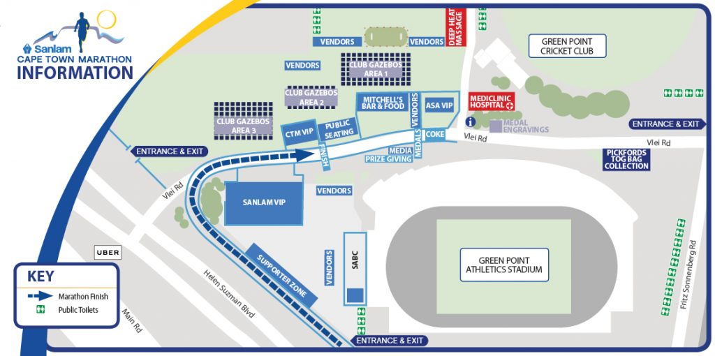 План зоны финиша Кейптаунского марафона (Sanlam Cape Town Marathon) 2019