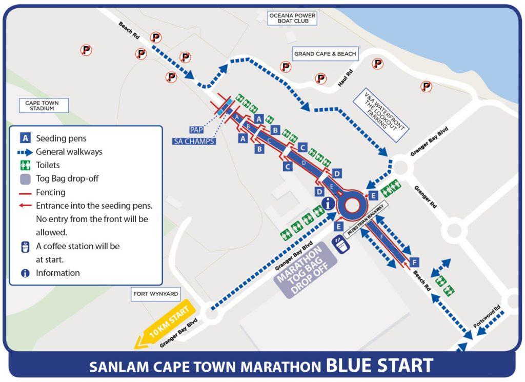 План зоны старта Кейптаунского марафона (Sanlam Cape Town Marathon) 2019 с делением на стартовые блоки