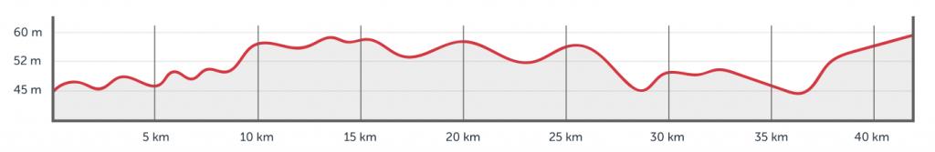 Профиль высот трассы Кельнского марафона (RheinEnergie Marathon Köln) 2019