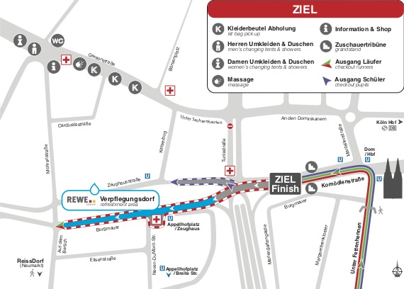Зона финиша Кельнского марафона (RheinEnergie Marathon Köln) и полумарафона (RheinEnergie Halbmarathon Köln) 2019