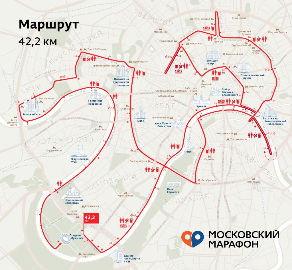 Трасса Московского марафона 2019