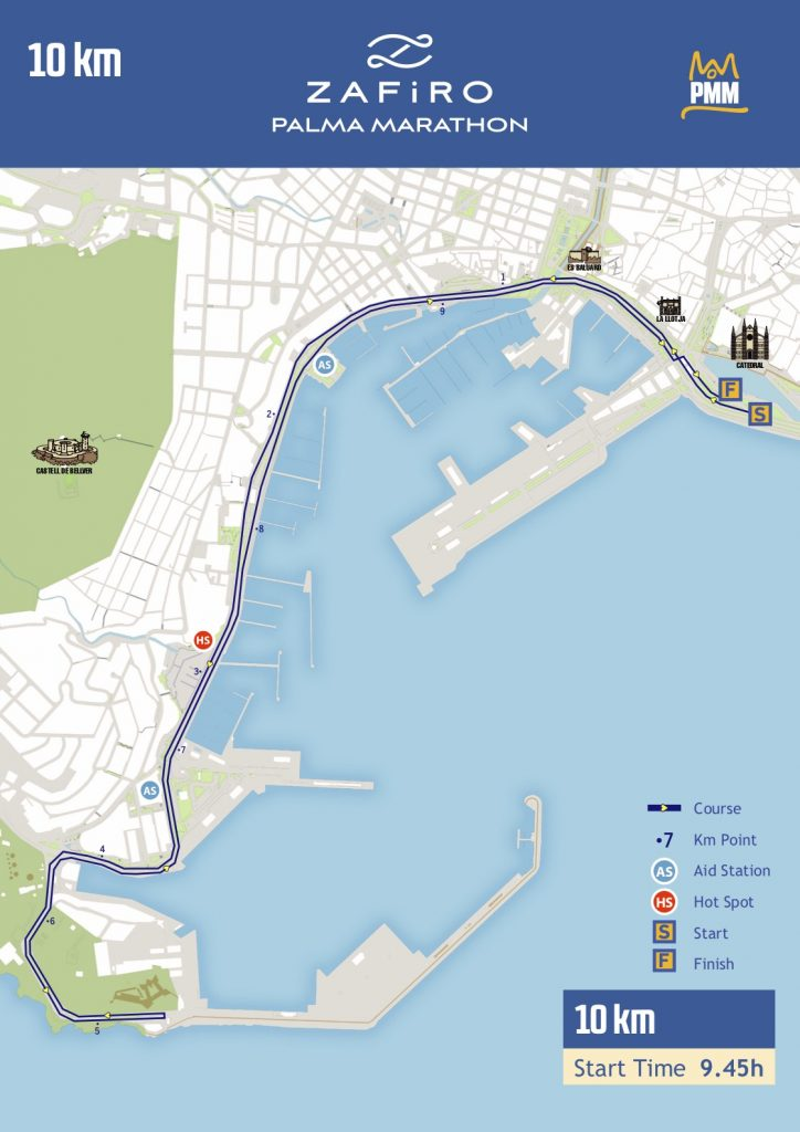 Трасса забега на 10 км в рамках Пальмского марафона (Zafiro Palma Marathon) 2019