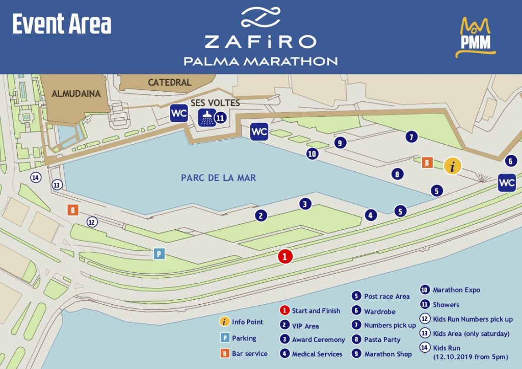 Зона старта и финиша Пальмского марафона и полумарафона (Zafiro Palma Marathon) 2019