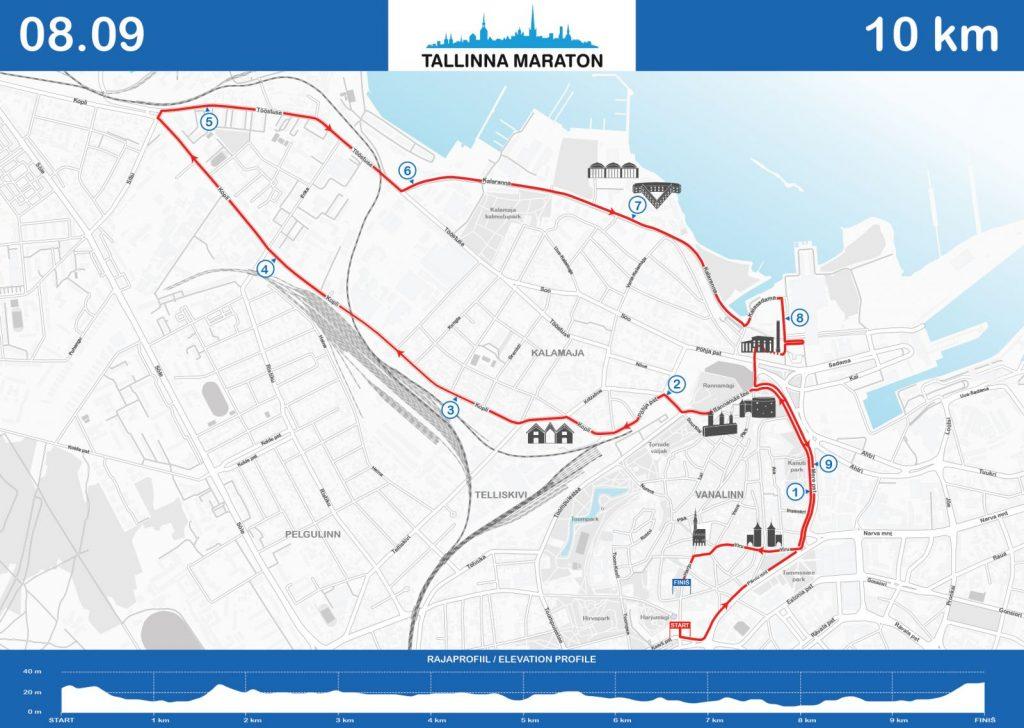 Трасса забега на 10 км в рамках Таллинского марафона (Tallinna Maraton) 2018