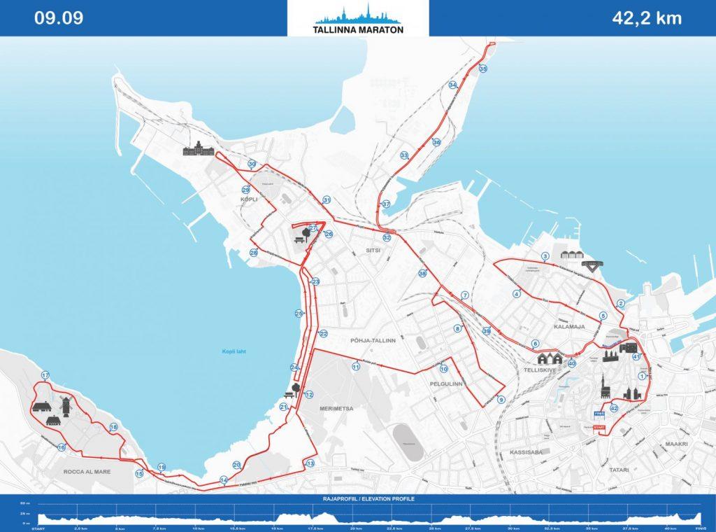 Трасса Таллинского марафона (Tallinna Maraton) 2018 с профилем высот