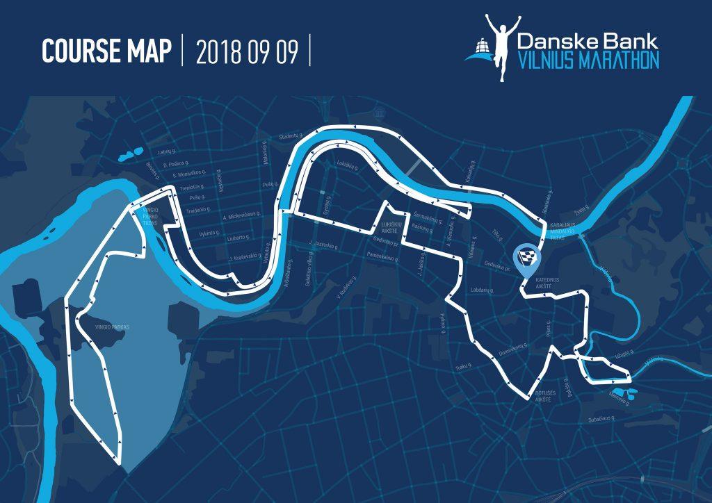 Трасса Вильнюсского марафона (2 круга) и полумарафона (Danske Bank Vilniaus Maratonas) 2018