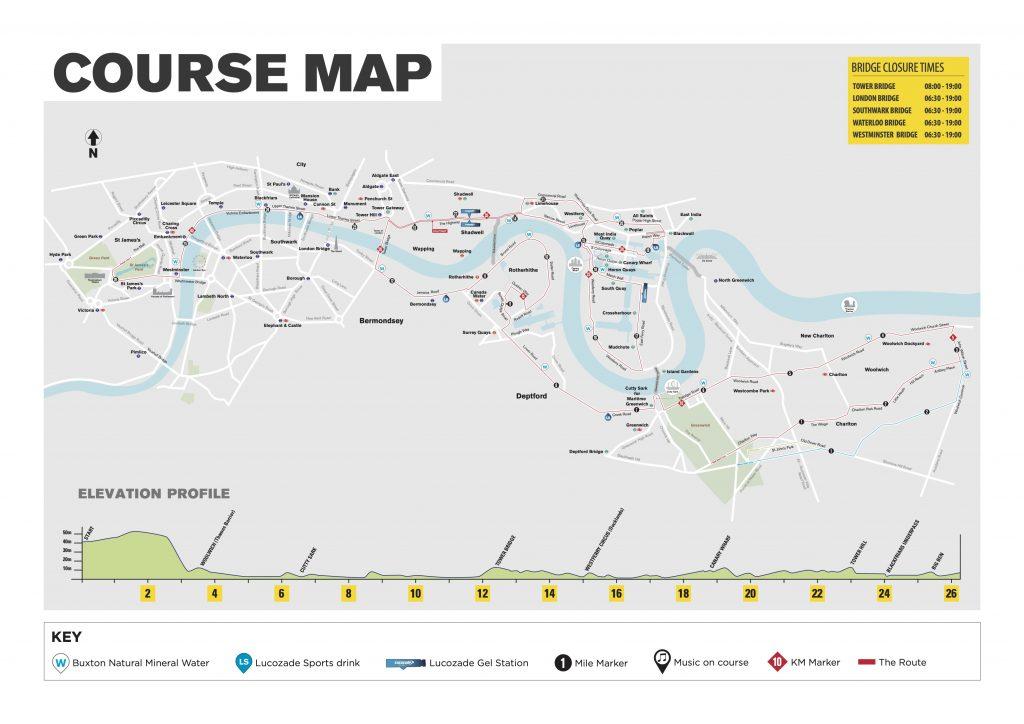 Трасса Лондонского марафона (Virgin Money London Marathon) 2020 с профилем высот