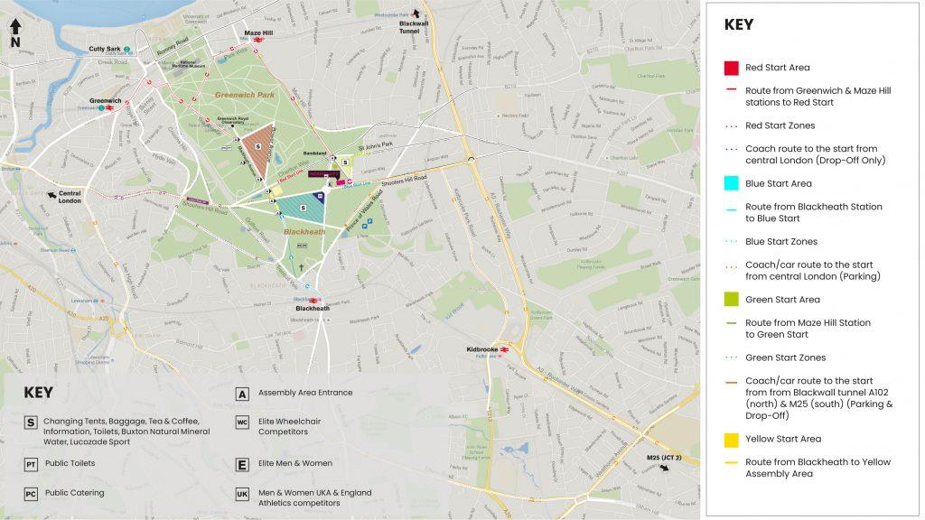 Зона старта Лондонского марафона (Virgin Money London Marathon) 2019 со стартовыми блоками