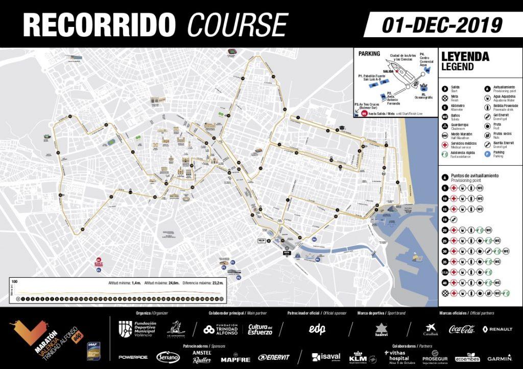 Трасса Валенсийского марафона (Maratón Valencia Trinidad Alfonso EDP) 2019