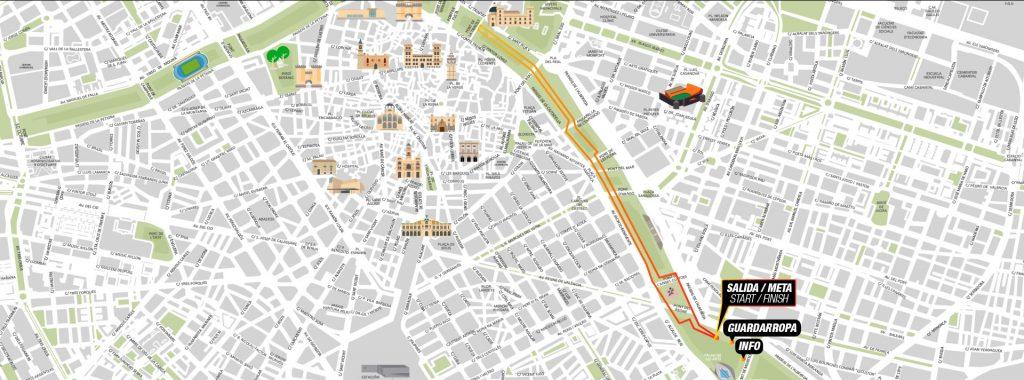 Трасса забега за завтраком в рамках Валенсийского марафона (Maratón Valencia Trinidad Alfonso EDP) 2019