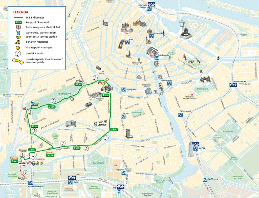 Трасса забега на 8 км в рамках Амстердамского марафона (TCS Amsterdam Marathon) 2019