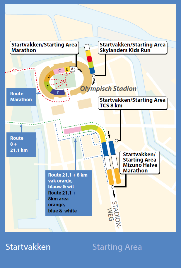 Схема зоны старта со стартовыми блоками Амстердамского марафона (TCS Amsterdam Marathon) и полумарафона (Mizuno Halve Marathon) 2019