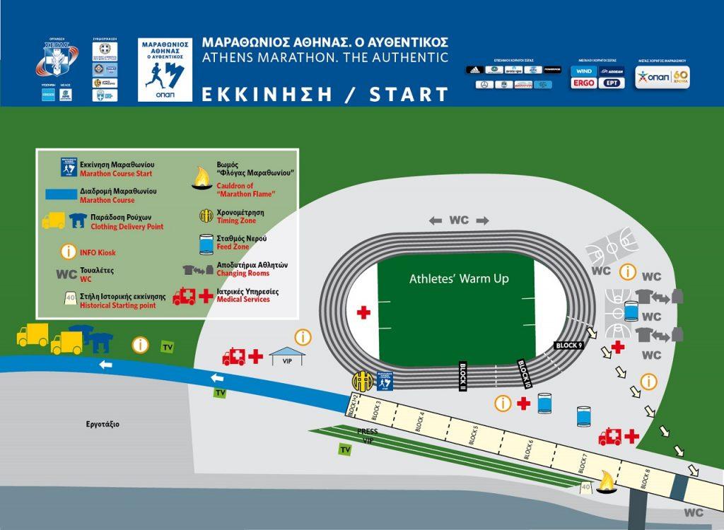 План зоны старта Афинского классического марафона (ΜΑΡΑΘΩΝΙΟΣ ΑΘΗΝΑΣ. Ο ΑΥΘΕΝΤΙΚΟΣ, Athens Marathon. The Authentic) 2019