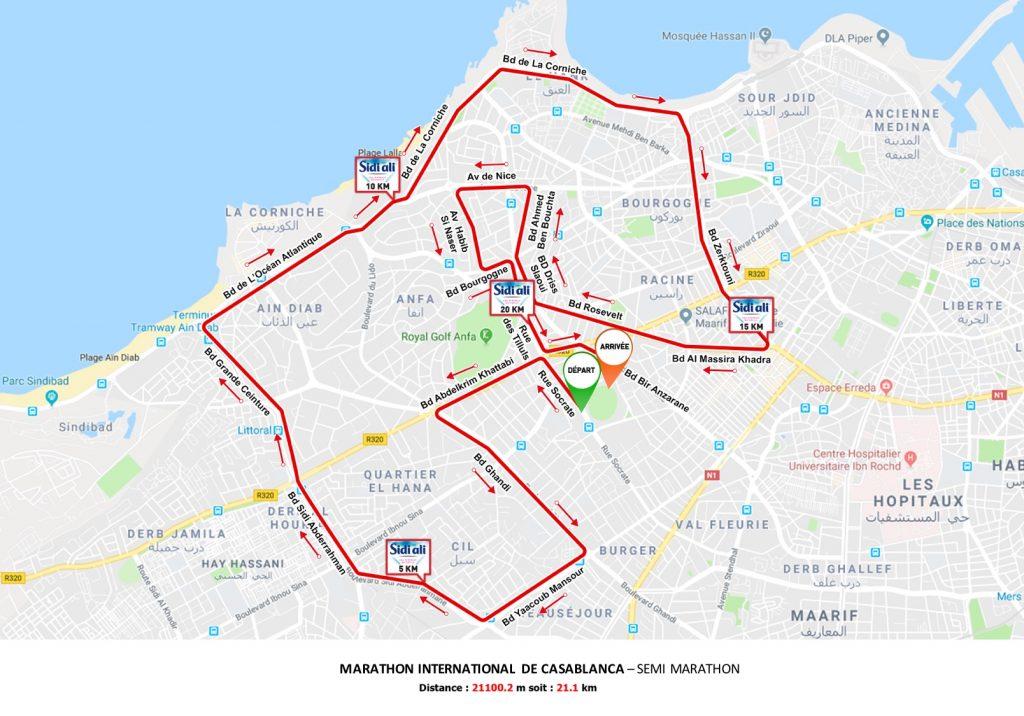 Трасса Касабланкского марафона и полумарафона (Marathon International de Casablanca) 2019