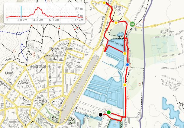 Трасса забега на 10 км в рамках Эйлатского марафона (המרתון המדברי אילת, Desert Marathon Eilat) 2020