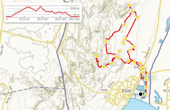 Трасса Эйлатского полумарафона 2020 с профилем высот