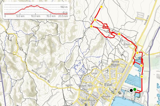 Трасса Эйлатского марафона (המרתון המדברי אילת, Desert Marathon Eilat) 2020 с профилем высот