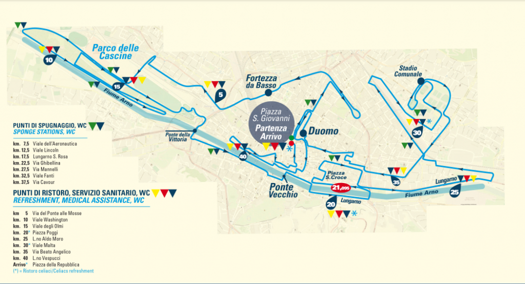 Трасса Флорентийского марафона (Asics Firenze Marathon) 2019