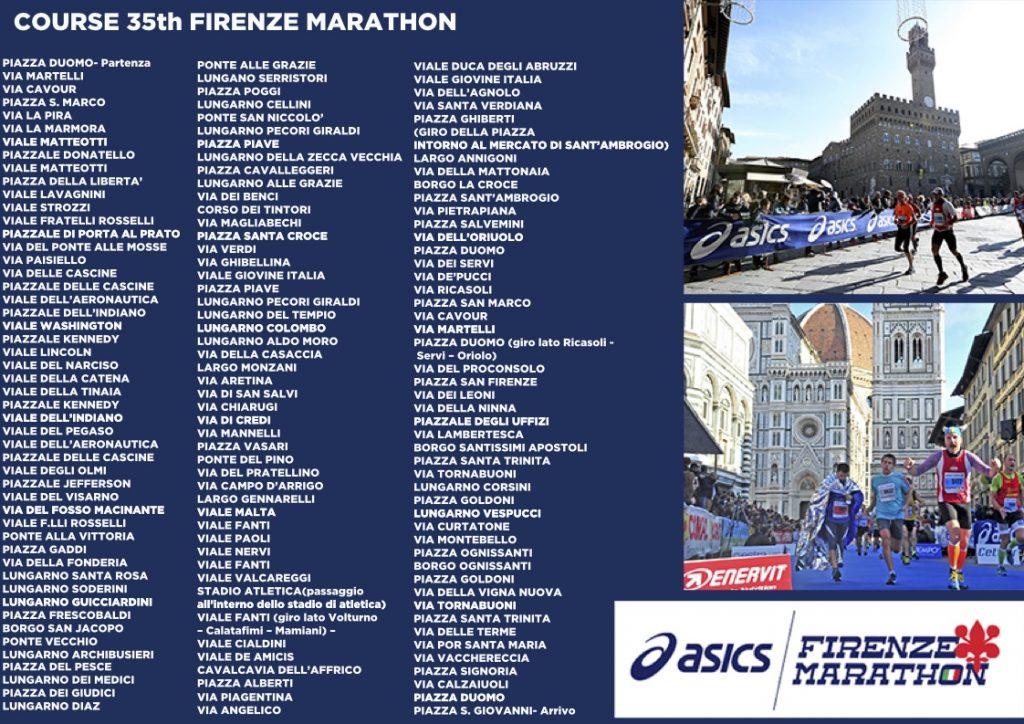 Список улиц, по которым проходит трасса Флорентийского марафона (Asics Firenze Marathon) 2020