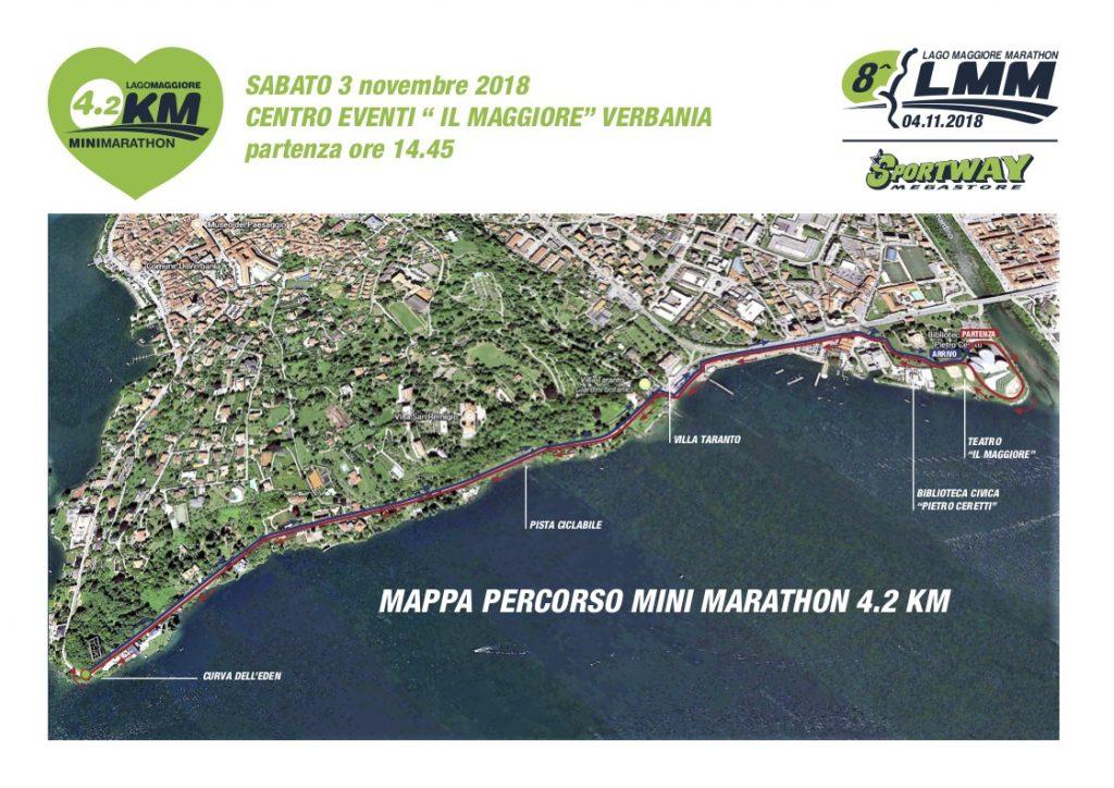 Трасса забега на 4,2 км в рамках Марафона озера Лаго-Маджоре (Sportway Lago Maggiore Marathon) 2018