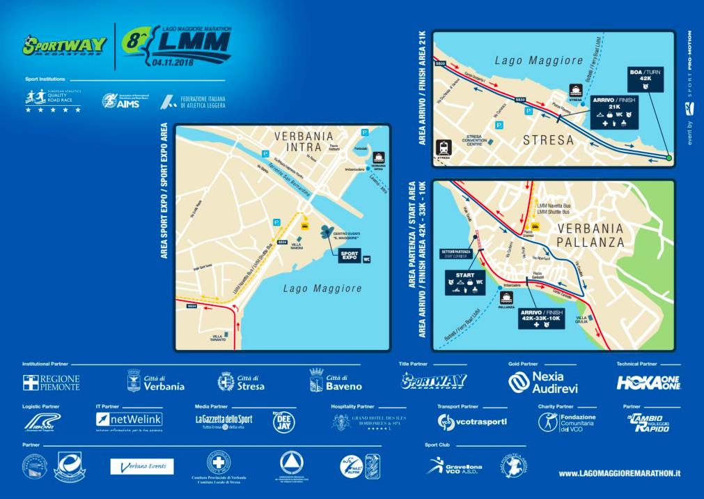 Зона старта и финиша забегов Марафона озера Лаго-Маджоре (Sportway Lago Maggiore Marathon) 2019