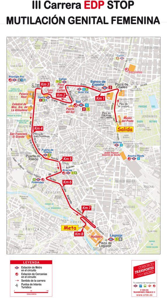 Трасса забега на 8 км в рамках Мадридского женского полумарафона (EDP Medio Maratón de la Mujer de Madrid) 2019