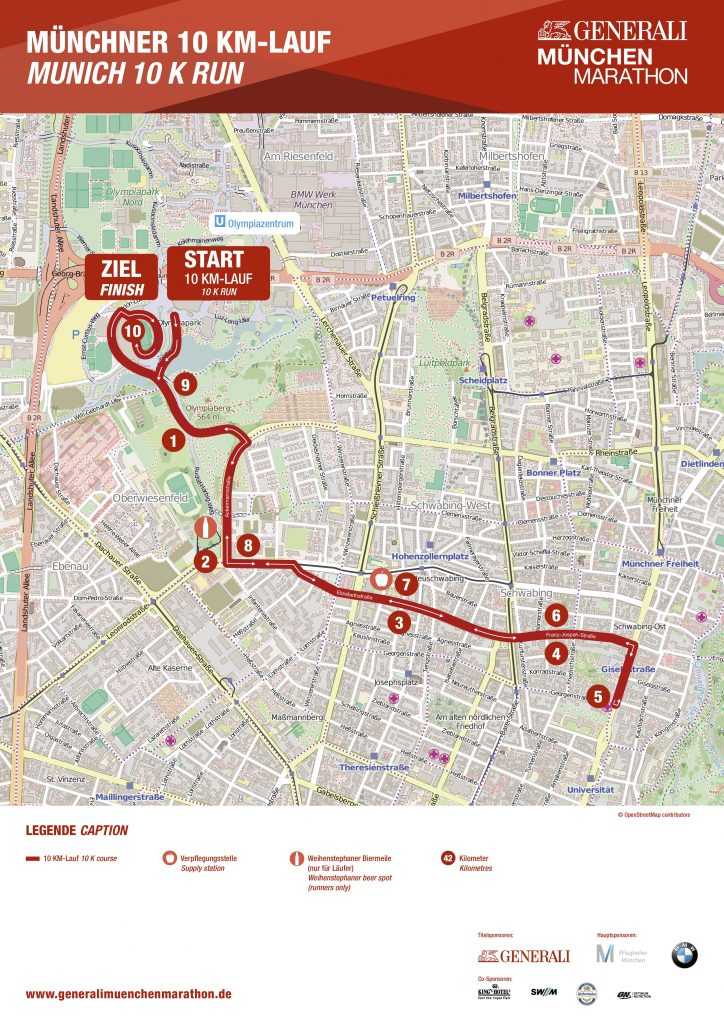 Трасса забега на 10 км в рамках Мюнхенского марафона (Generali München Marathon) 2019