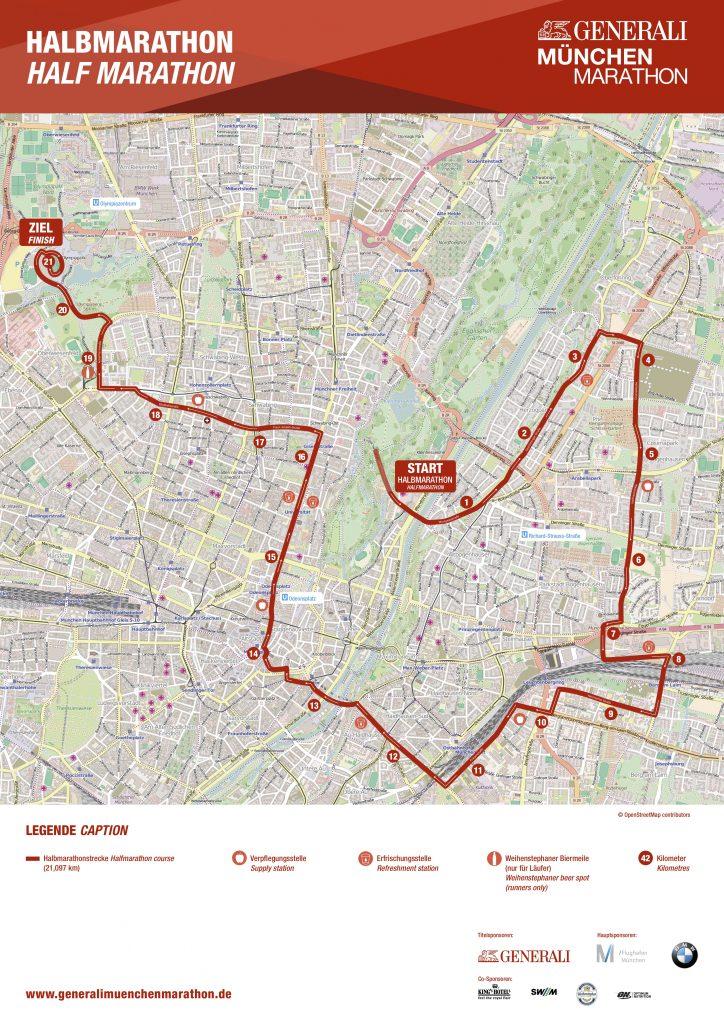 Трасса Мюнхенского полумарафона (Generali München Halbmarathon) 2019