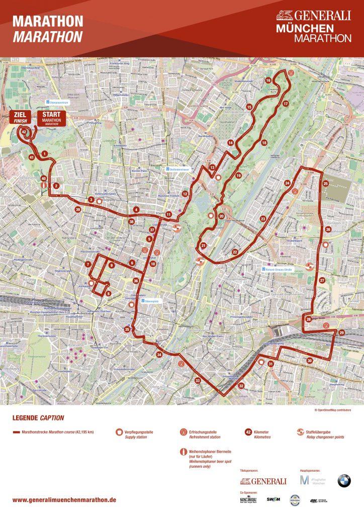 Трасса Мюнхенского марафона (Generali München Marathon) 2019
