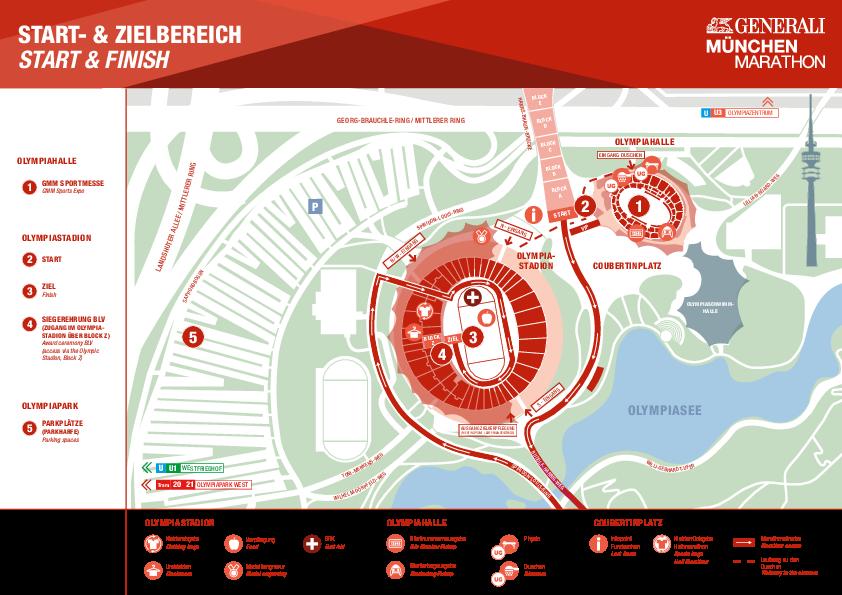 План зоны старта и финиша Мюнхенского марафона (Generali München Marathon) 2019