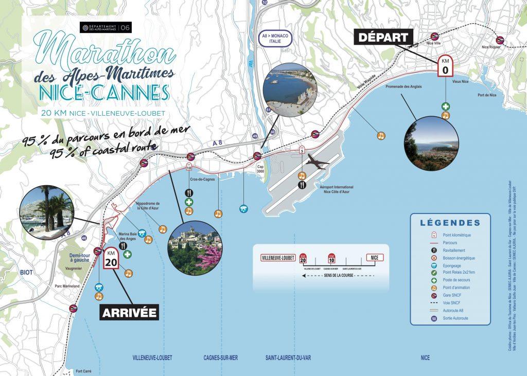Трасса Забега на 20 км Ницца --- Вильнев-Лубе (20 km Nice - Villeneuve-Loubet) 2020