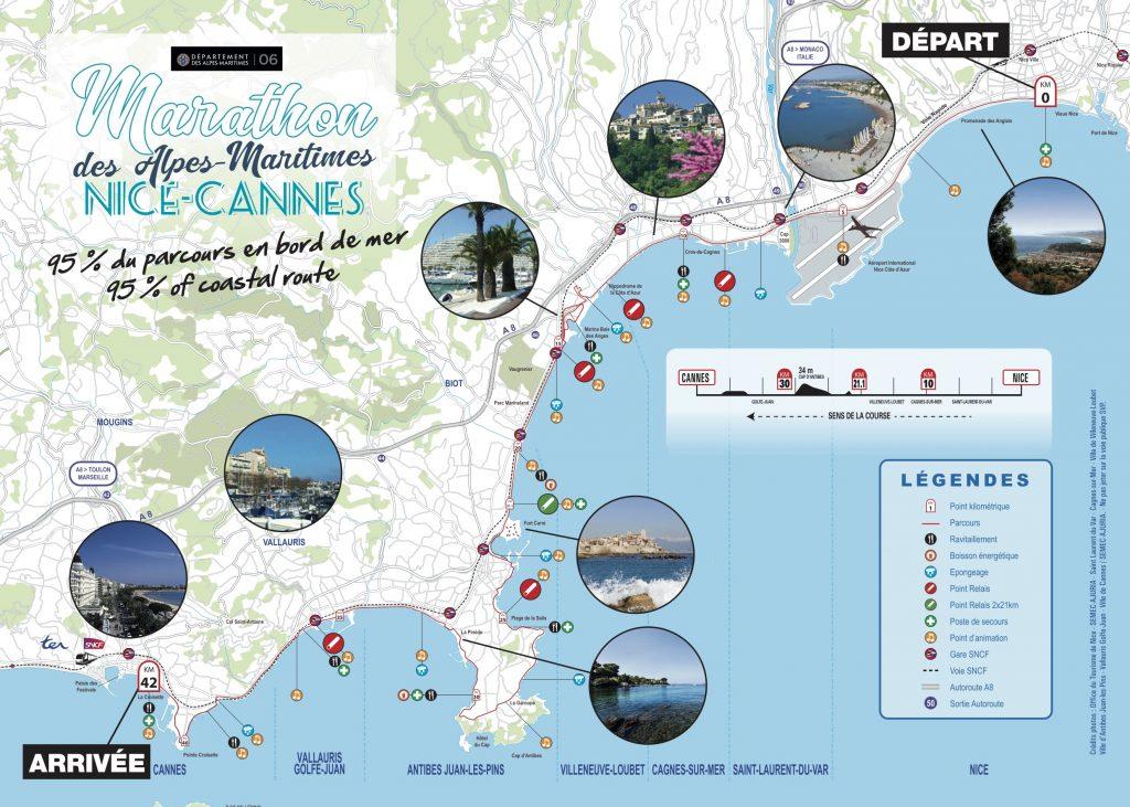 Трасса Марафона Французской Ривьеры (Marathon des Alpes-Maritimes Nice-Cannes) 2020