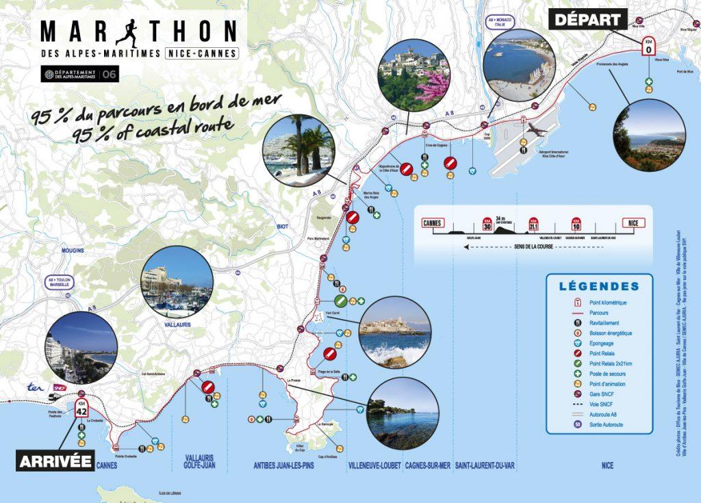Трасса Марафона Французской Ривьеры (Marathon des Alpes-Maritimes Nice-Cannes) 2019
