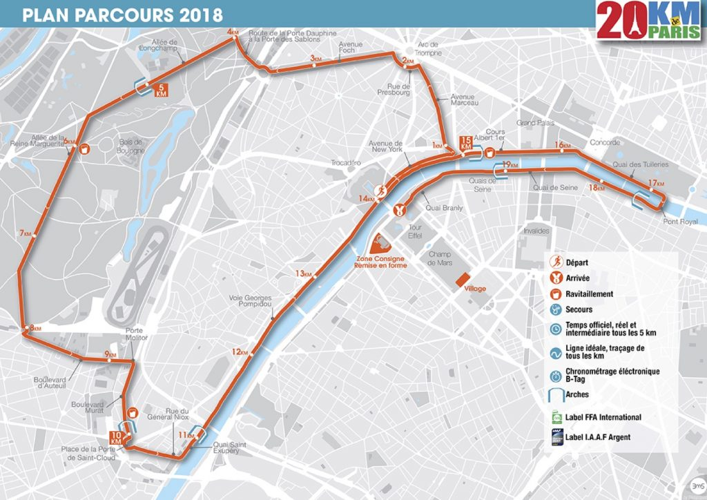 Трасса Парижского забега на 20 км (20 Kilomètres de Paris) 2018